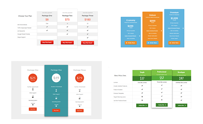 plugmatter pricing table plugin templates